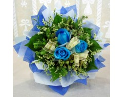 3 Blue Roses Hand Bouquet