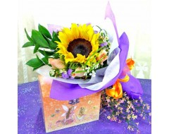 Sunflower and 3 Champagne Roses Hand Bouquet