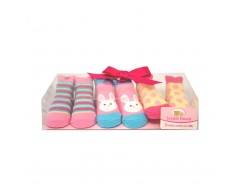 Luvable Friends 3 Little Shoe Socks (0-9m) Girl