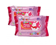 Pureen Baby Wipes Pink 30s x 2pkt