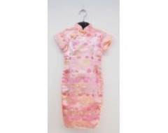 Short Sleeve Girls CNY Cheongsam Dress - Peach