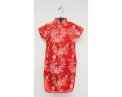 Short Sleeve Girls CNY Cheongsam Dress - Red