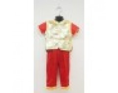 Short Sleeve Boys CNY Shirt & Pants Set - Gold & Red