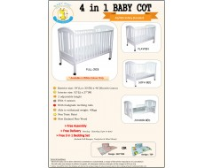 "Baby One  990BC  4 in 1 Cot with 4"" Foam Mattress"